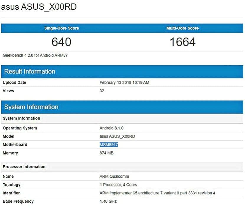 Asus X00RD en Geekbench