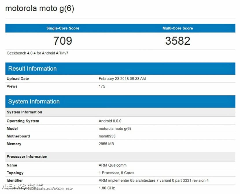 Moto G6 en GeekBench