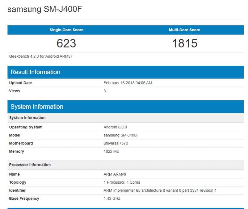 Samsung Galaxy J4 en GeekBench
