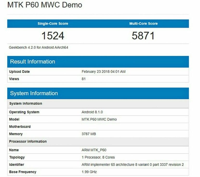 Mediatek P60 en GeekBench