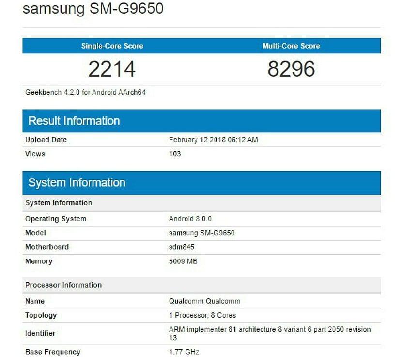Resultados del Samsung Galaxy S9+ con el Snapdragon 845