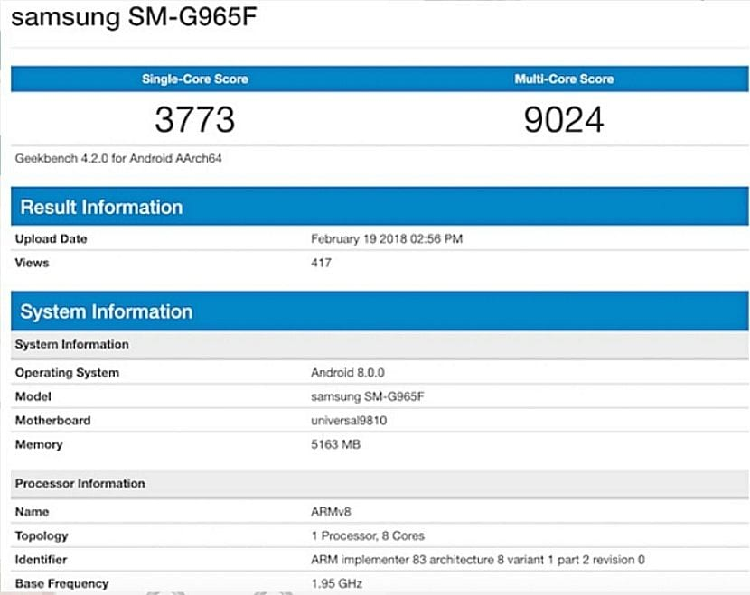 Samsung Galaxy S9+ en Geekbench