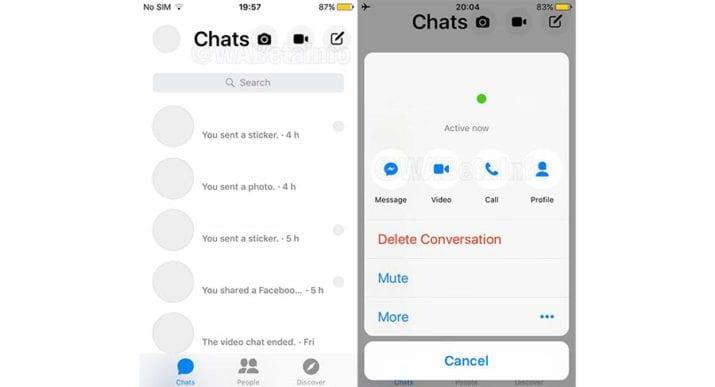 Facebook Messenger nuevo diseño