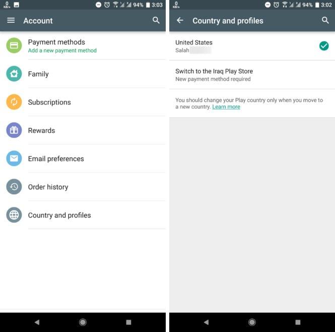 Google Play cambiar de pais