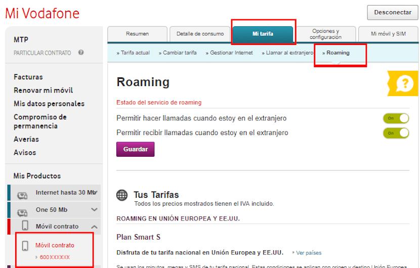Activar Roaming Vodafone