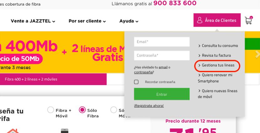Cambiar la tarifa de Jazztel por Internet