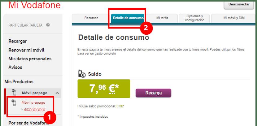 Comprobar el saldo en Vodafone
