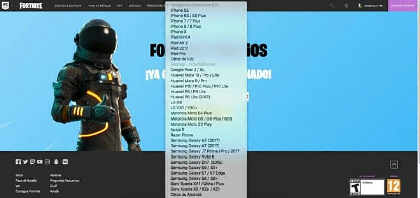 Lista de móviles Android compatibles con Fortnite