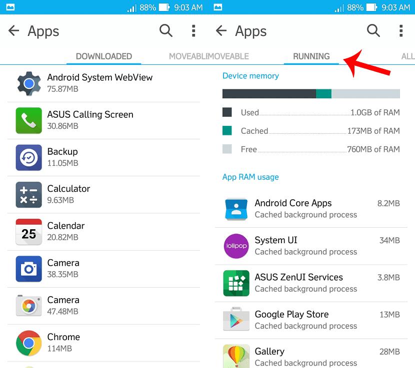 Consumo RAM aplicaciones Android