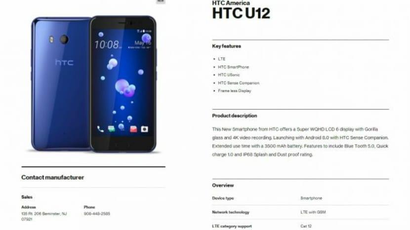 Especificaciones del HTC U12