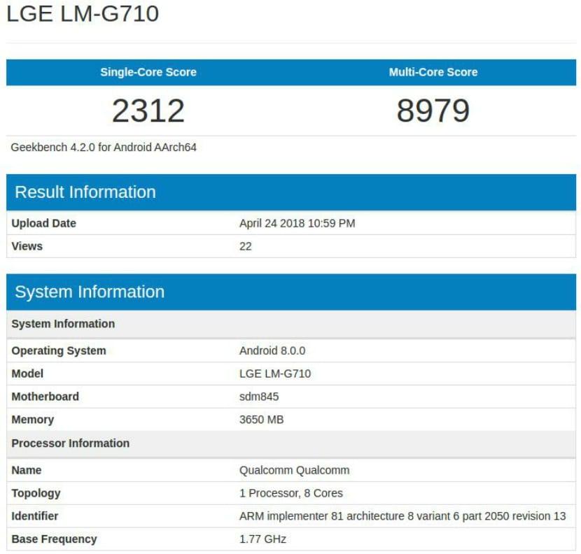 LG G7 ThinQ en GeekBench