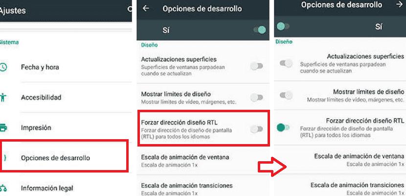 Modo zurdos Android
