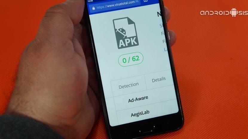 Ejemplo de App completamente limpia tras análisis en Virus Total