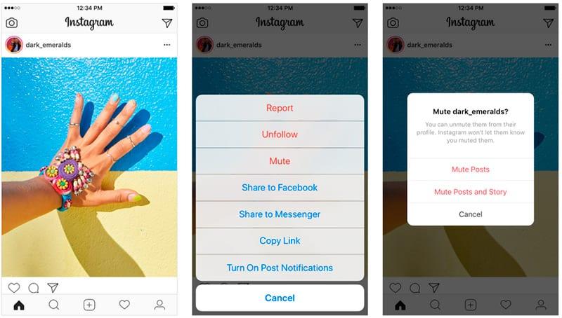 Instagram silenciar usuarios