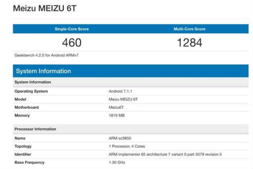 Meizu M6T en Geekbench
