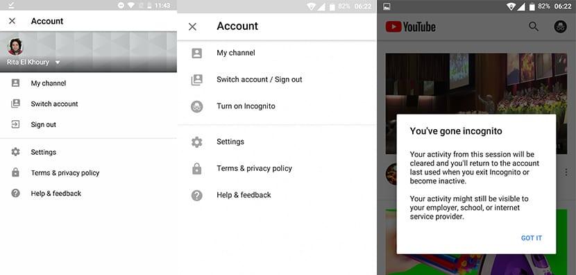 Resultado de imagen de modo incognito android youtube