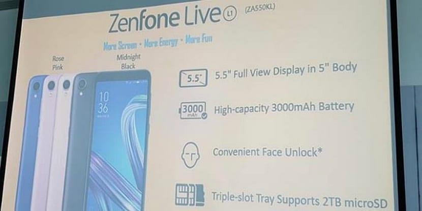 Especificaciones del Asus ZenFone Live L1