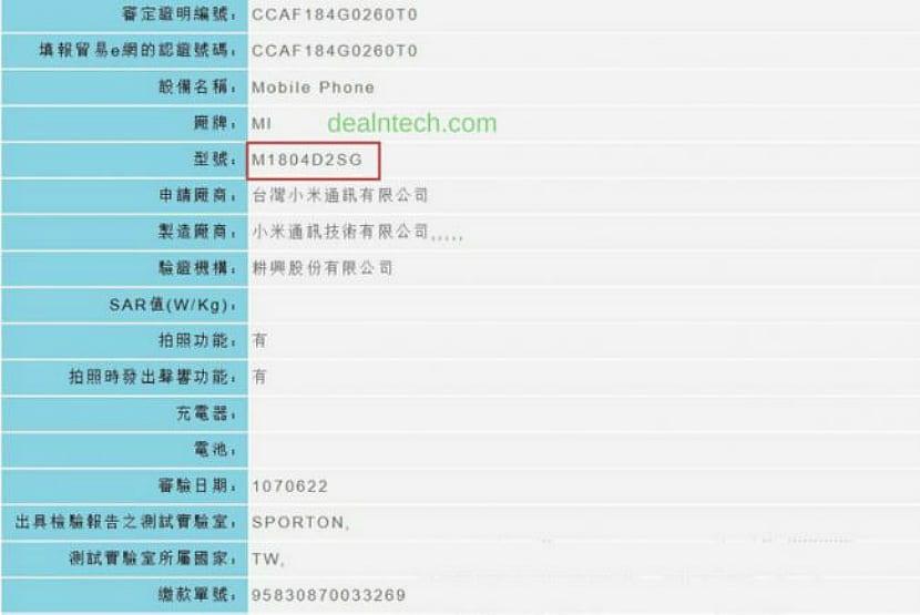Xiaomi Mi A2 NCC