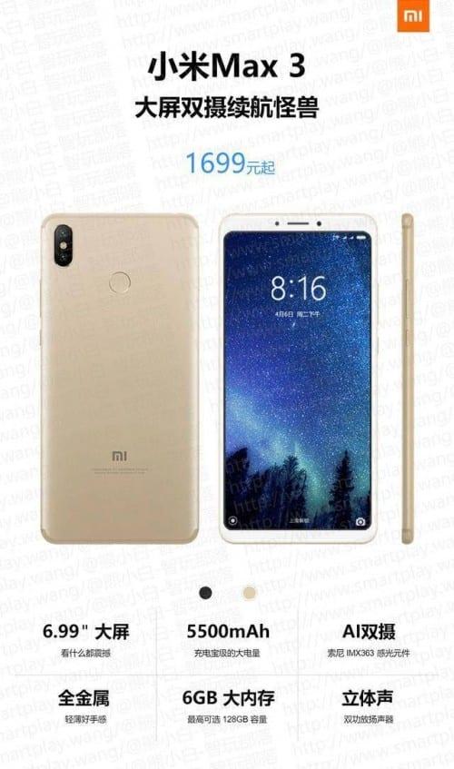 Xiaomi Mi Max 3 precio