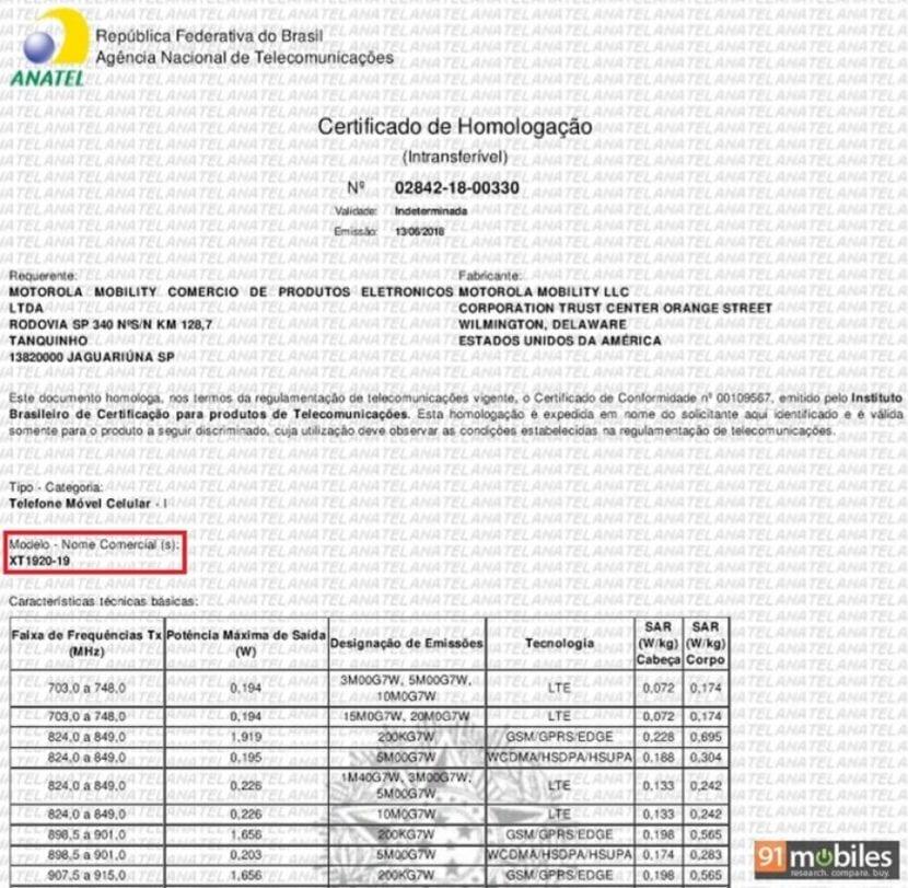 Moto C2 certificacion