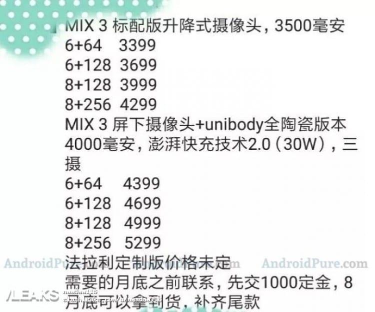 Precios Xiaomi Mi Mix 3