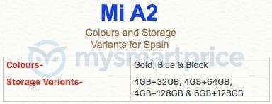 Xiaomi Mi A2 colores y precios España