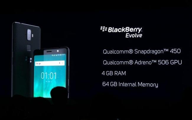 Especificaciones del Blackberry Evolve