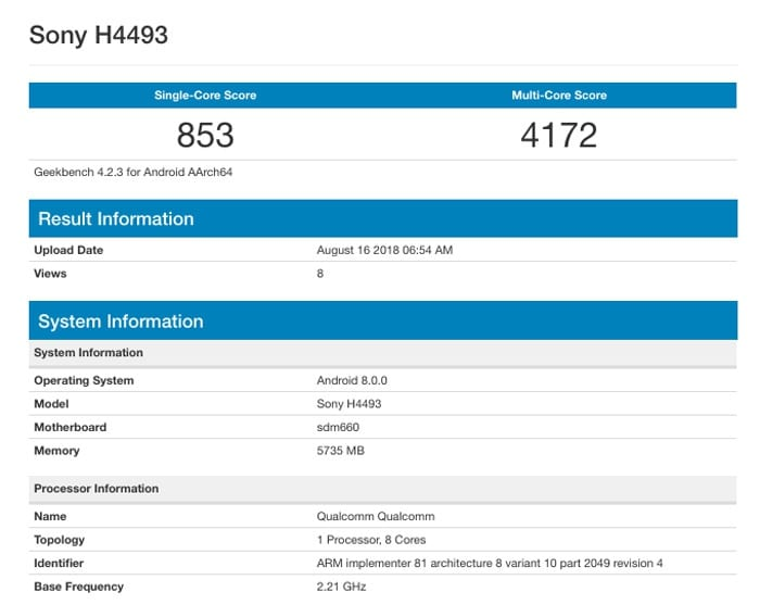Sony Xperia XA3 Plus en Geekbench
