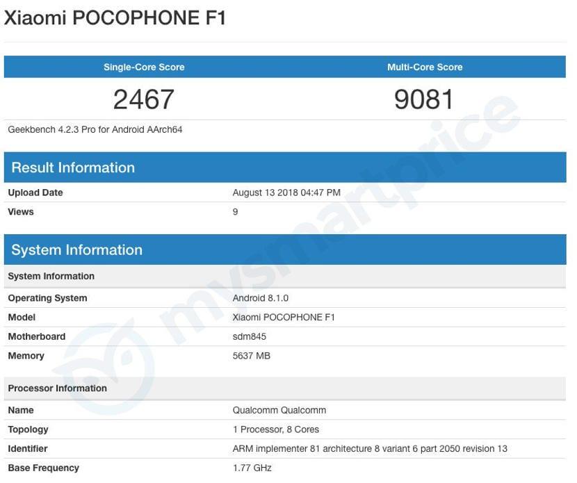 Xiaomi Pocophone F1 Geekbench
