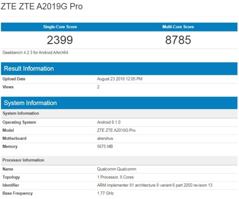 ZTE Axon 9 Pro en Geekbench