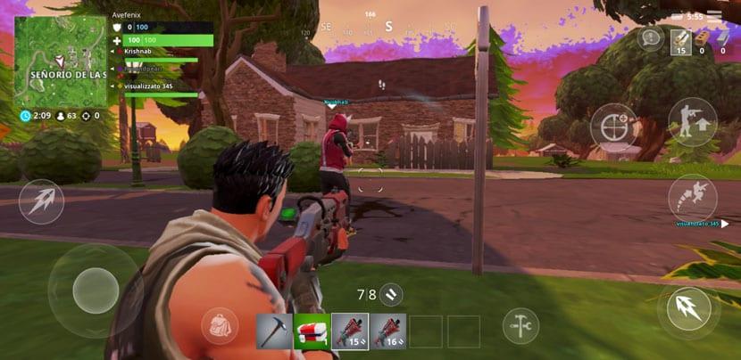 Fortnite disparando