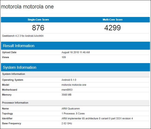 Motorola One en Geekbench