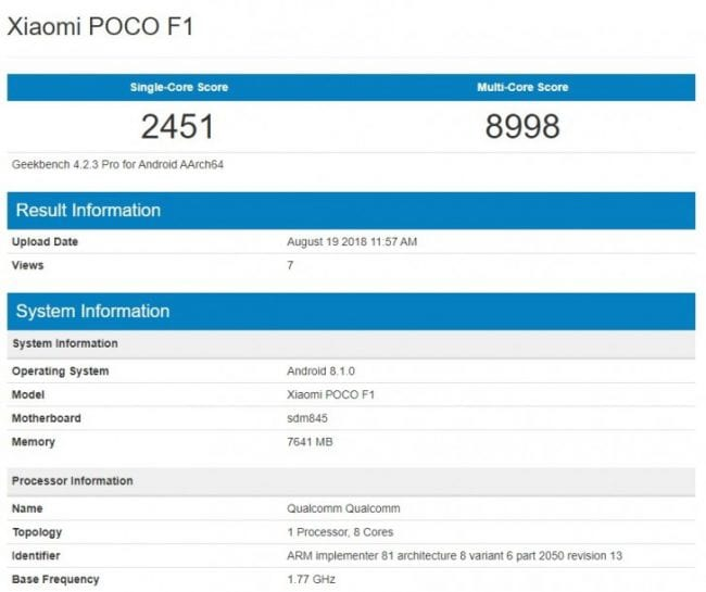 Xiaomi Pocophone F1 de 8GB de RAM en Geekbench