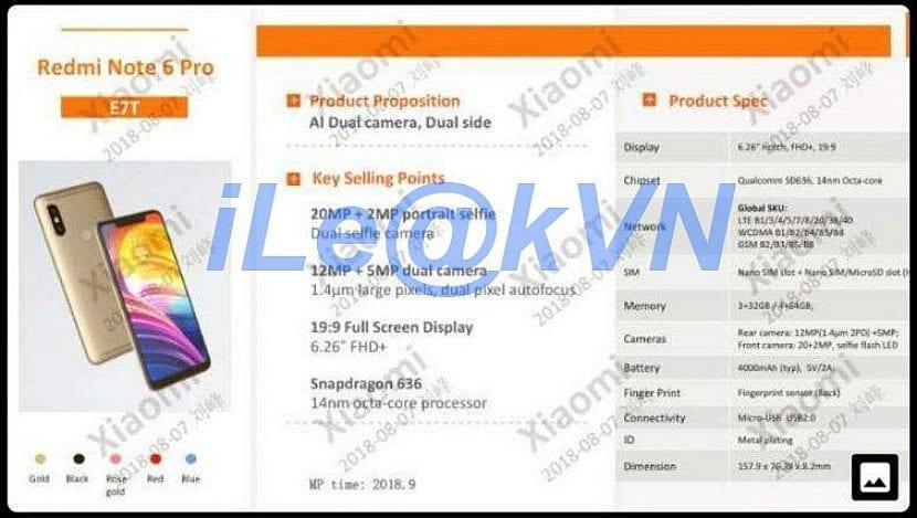 Especificaciones filtradas del Xiaomi Redmi Note 6 Pro