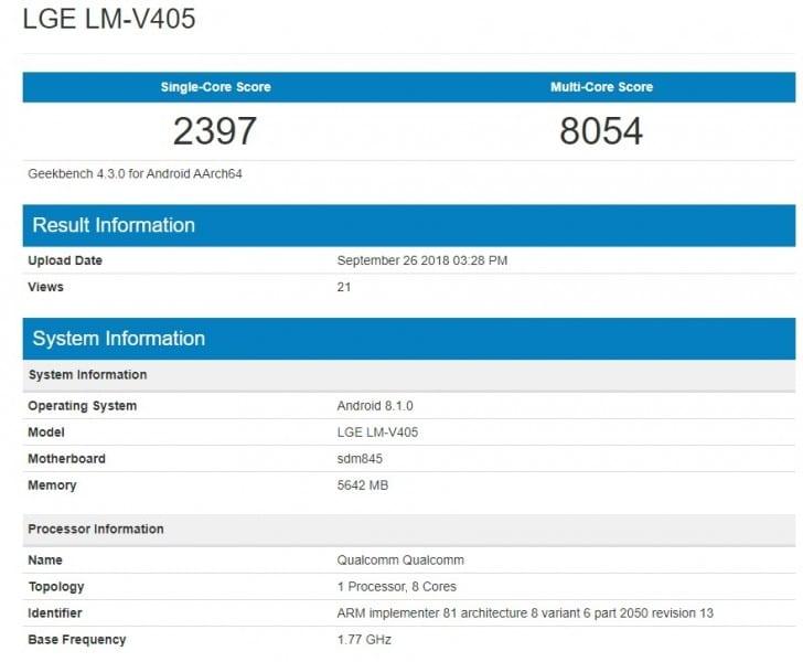 LG V40 filtrado en Geekbench