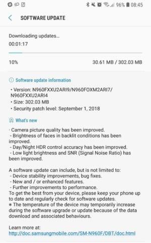 Nueva actualización del Galaxy Note 9 mejora la toma de fotos