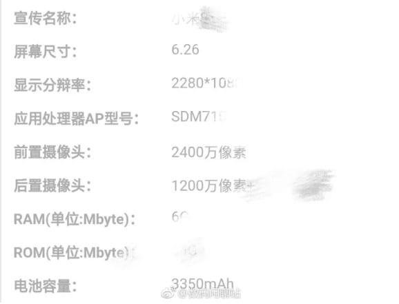 Especificaciones filtradas del Xiaomi Mi 8 Youth