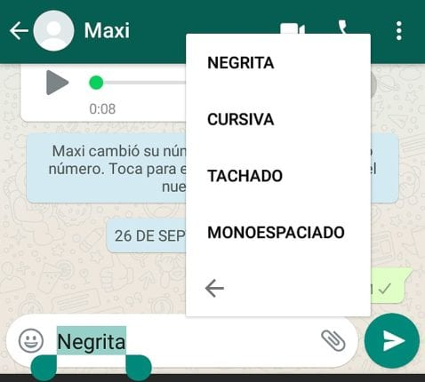 Cómo marcar las palabras en negrita, cursiva, tachado o monoespaciado en WhatsApp