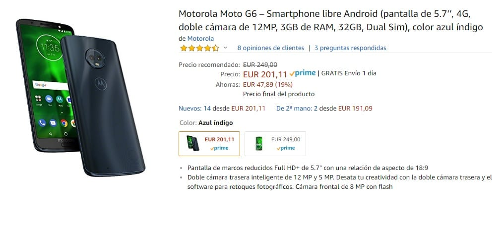 Moto G6 de oferta en Amazon