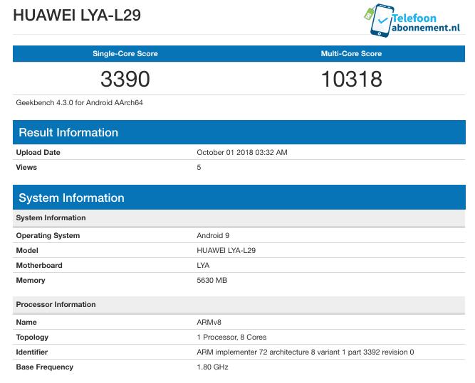 Huawei Mate 20 con Kirin 980 en Geekbench