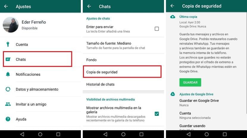 WhatsApp copia de seguridad