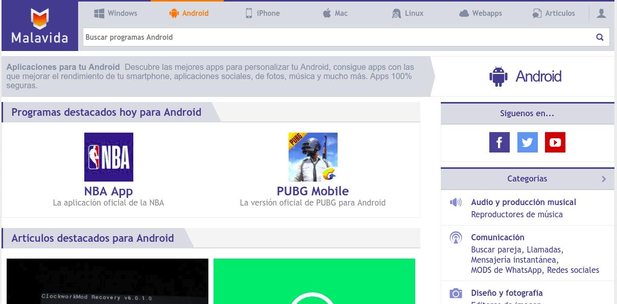 Web Malavida.com una alternativa al Play Store de Google