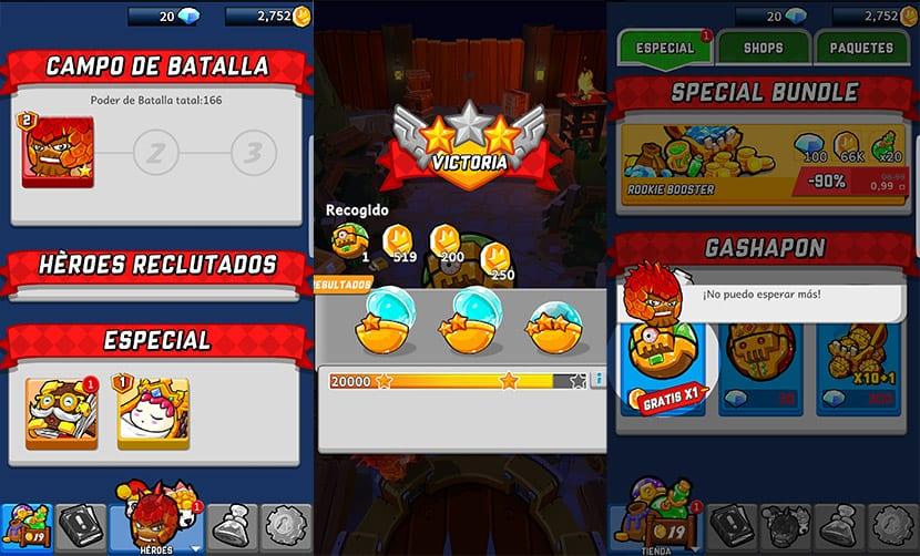 Las pantallas de Zombie Rollerz