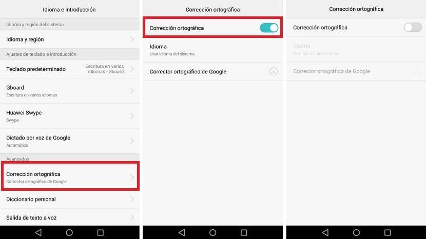 Corrector ortografico Android