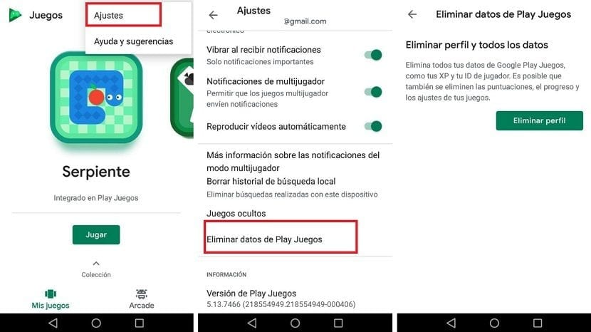 Eliminar datos Google Play Games