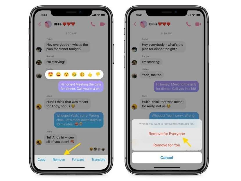 Eliminar mensajes Facebook Messenger