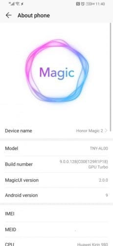 El Honor Magic 2 recibe Magic UI 2.0 con Android Pie