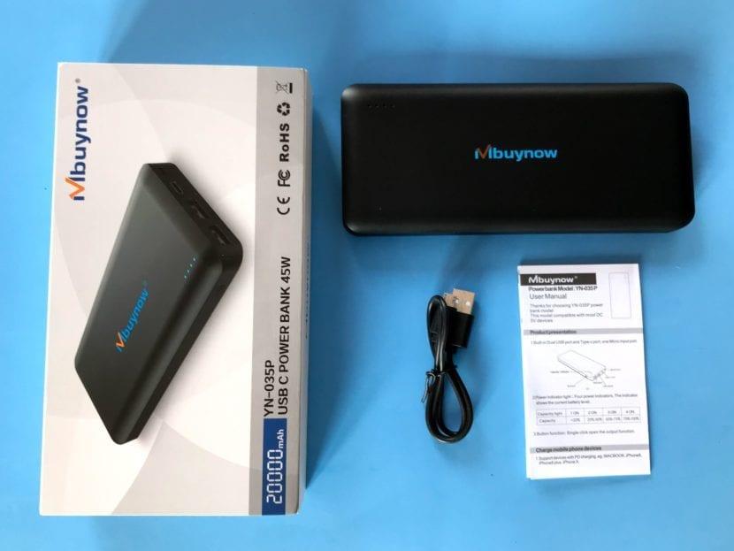 Mbuynow batería externa contenido caja