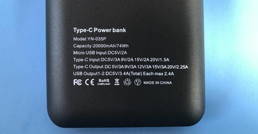 Mbuynow batería externa especificaciones