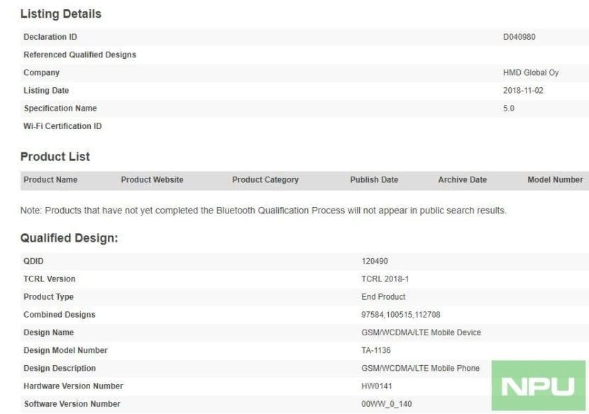 Nokia 8.1 certificado por Bluetooth SIG
